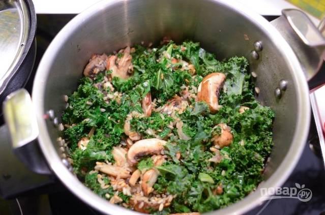 Добавьте порезанную капусту кале и грибы дольками. Влейте бульон и вино, тушите 7 минут под закрытой крышкой.