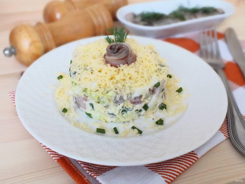 Салат из селедки с сыром