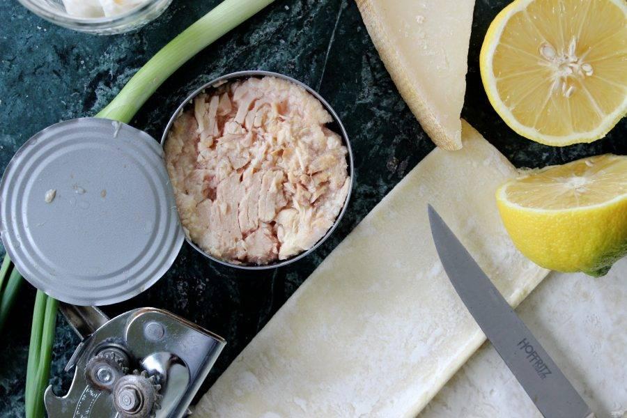 1.Откройте банку консервированного тунца и переложите его в тарелку, добавьте к нему майонез, немного лимонного сока, черный молотый перец, хорошенько все перемешайте. Сыр натрите на крупной терке, несколько ломтиков ветчины нарежьте мелко.