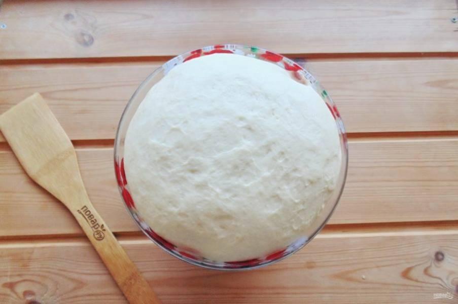 Поставьте тесто в теплое место. Через час-полтора оно увеличится в объеме и будет готово к работе.