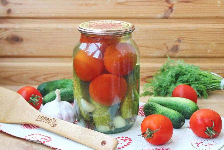 Огурцы с помидорами на зиму без стерилизации