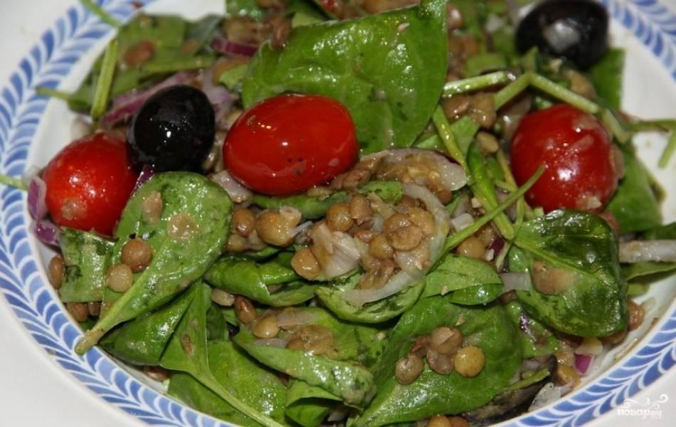 Салат из чечевицы с овощами
