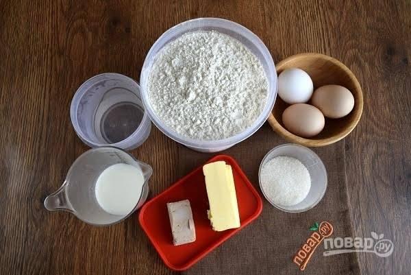 1. Подготовьте необходимые продукты для теста.