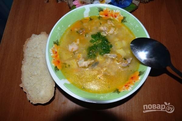 Готовый рыбный суп из горбуши можно подавать к столу, украсив веточкой петрушки и с кусочком свежего хлеба.