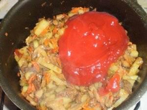 Добавляем томатную пасту, все перемешиваем, доливаем два стакана кипятка, накрываем крышкой и еще немного тушим.