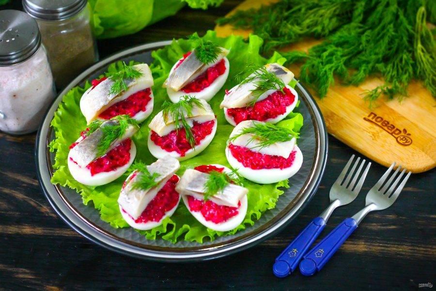 Подайте приготовленную закуску на листьях салата, украсьте свежим укропом.