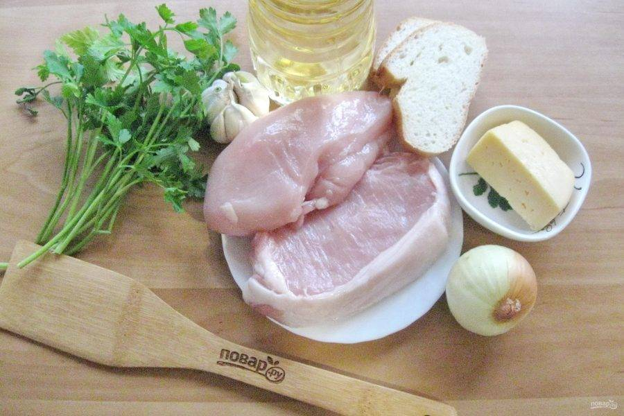 Подготовьте ингредиенты для приготовления котлет с сыром и зеленью.