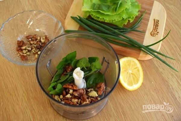 Оливковое масло, лимонный сок, орехи, листья мяты, тархуна и базилика смешайте в блендере до однородности. Листья салата порвите руками на некрупные кусочки. Зеленый лук мелко нарежьте. Все смешайте, выложите на тарелки.