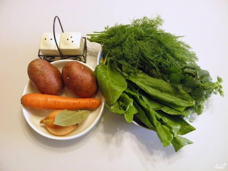Подготовьте продукты для супа. Воду доведите до кипения, посолите по вкусу. Пучки зелени должны быть большими, не менее 150 граммов каждый.
