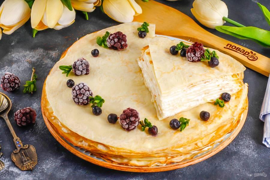 Блинный торт с творожным сыром