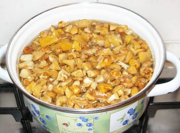 1. Лисички отварим 15 минут в кипятке, затем воду сливаем, набираем новую, кипятим еще раз. Как вода закипит - добавьте картофель и уменьшите огонь.