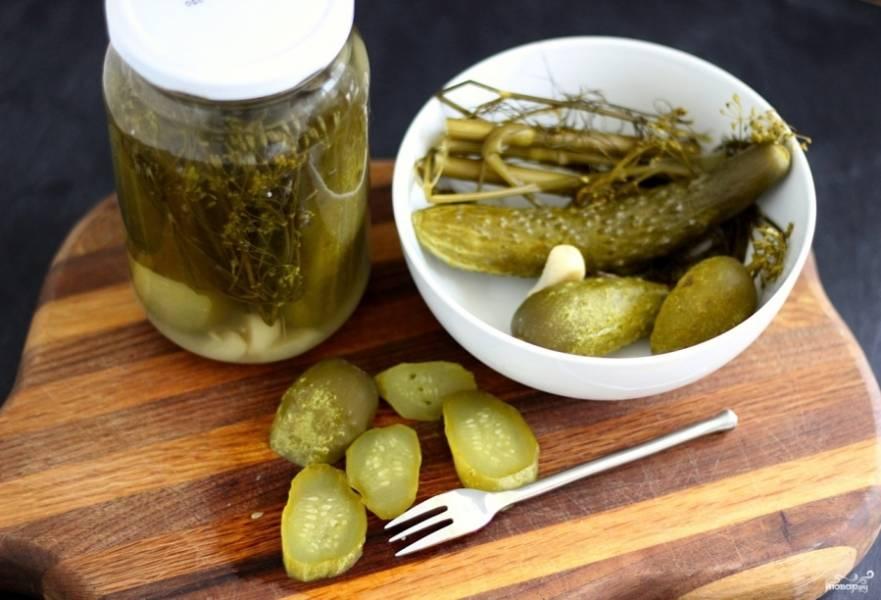 Готовые огурчики по-польски храните в подвале или кладовке до зимы, главное, чтобы было прохладно. Приятного аппетита!