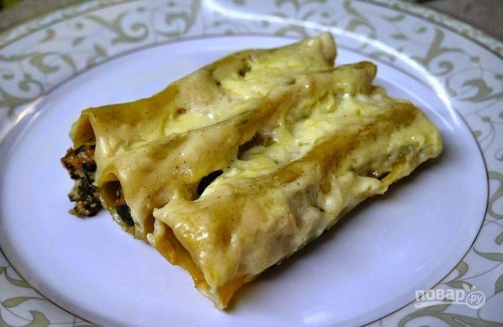Каннеллони с курицей и творожным сыром