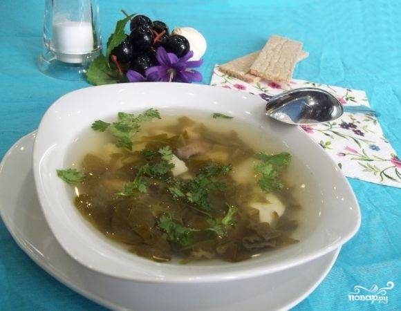 9. Вот и весь секрет, как приготовить суп из щавеля с рисом. Подавать к столу его можно с сухариками или сметаной, например.  Приятного аппетита!