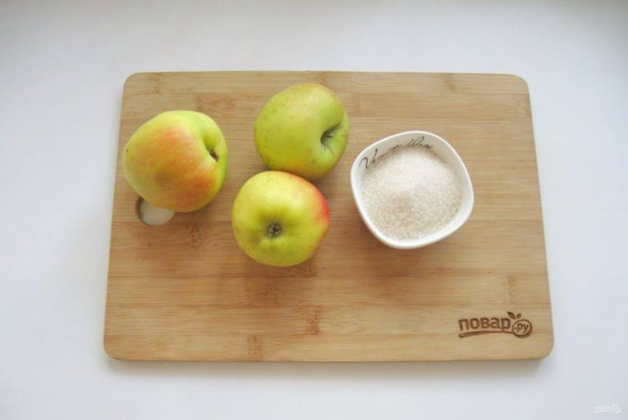 Подготовьте ингредиенты для приготовления протертых яблок на зиму.