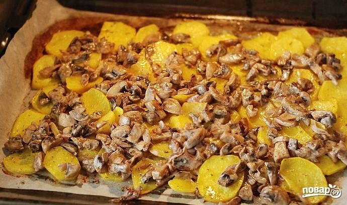 Грибы со свининой и картофелем в духовке