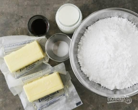 1.Подготовьте все необходимые ингредиенты: масло заранее достаньте из холодильника.