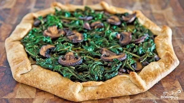 Пирог с грибами без дрожжей
