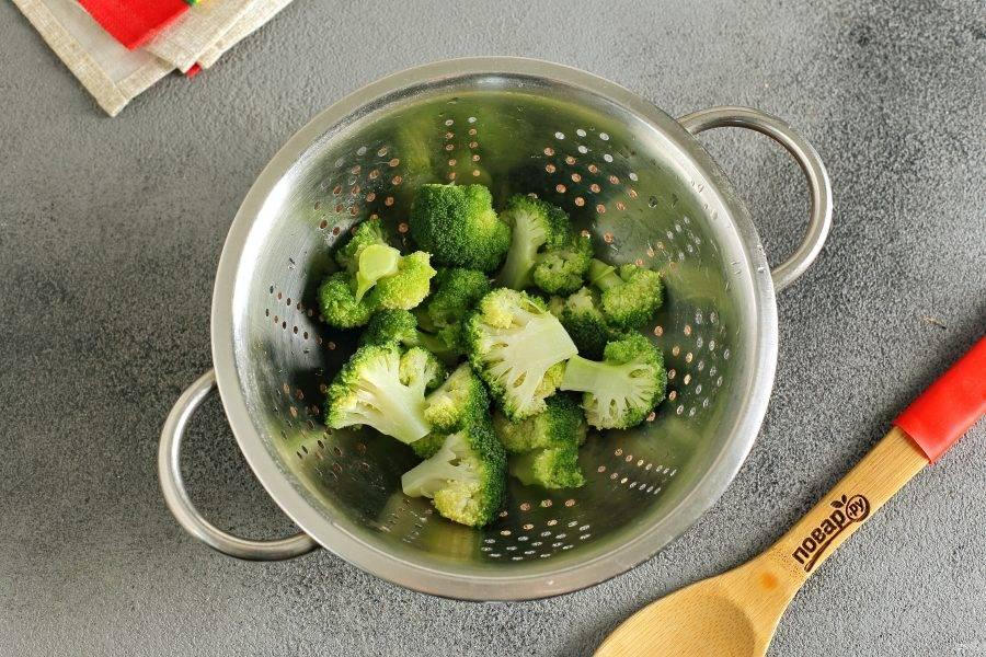 Отварите брокколи в кипящей воде в течение 5 минут. Затем сразу переложите в ледяную воду, а затем на дуршлаг, чтобы стекла вся вода.