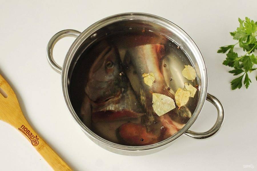 Рыбу промойте и сложите в кастрюлю. Если вы будете использовать голову, то предварительно удалите жабры. Добавьте воду, лавровый лист, перец горошком и варите после закипания на небольшом огне 15-20 минут. В момент закипания не забудьте убрать образовавшуюся пенку.
