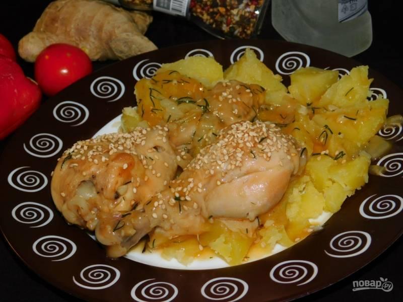 Куриные голени с овощами в соевом соусе