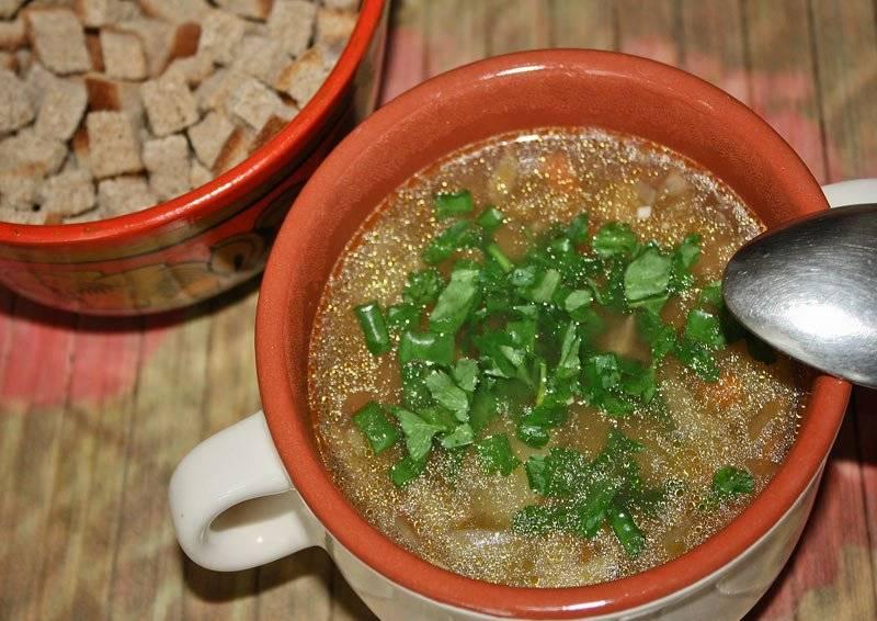 Подаем суп, украсив свежей зеленью, с гренками или сметаной. Приятного аппетита!