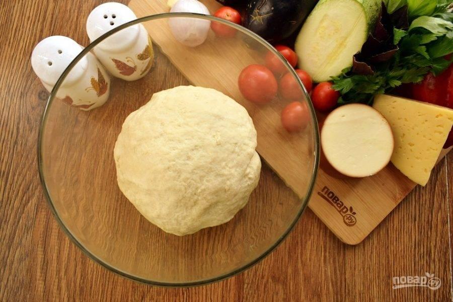 В муку добавьте воду, перемешайте. Влейте масло, замесите мягкое тесто, не липнущее к рукам. Поместите в миску, накройте пищевой пленкой и оставьте в теплом месте для подхода на 1,5 часа.