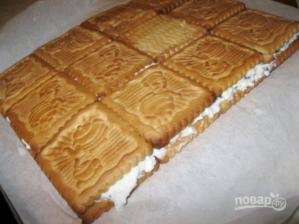 5.Поверх творога выложите половину оставшегося печенья. Тут уже не делайте отступы, а укладывайте плотно друг к другу.