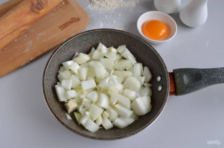 Порежьте лук крупными кубиками. На растительном масле обжарьте его до полуготовности.