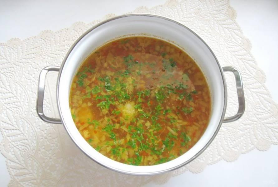 Варите суп до готовности всех овощей. В конце добавьте измельченный чеснок и зелень.