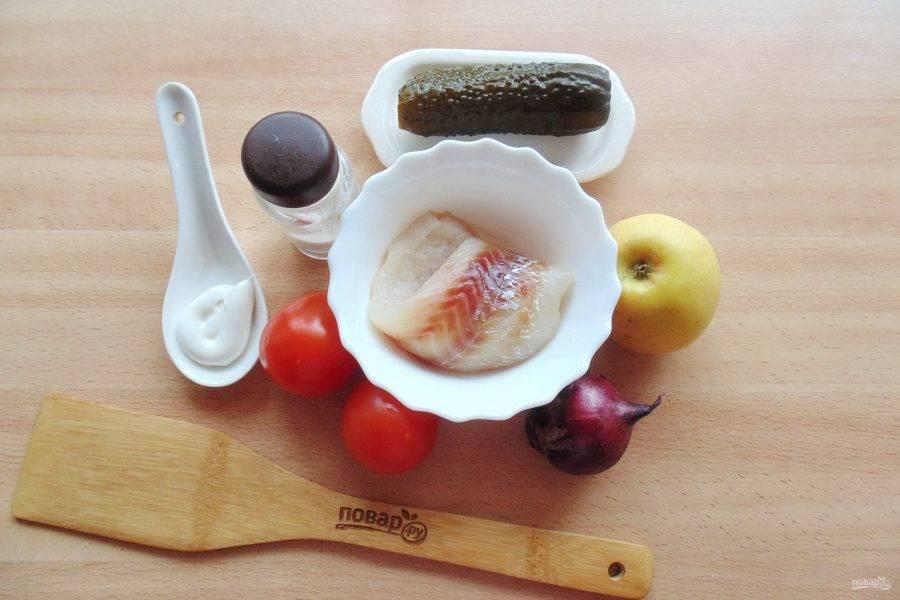 """Подготовьте ингредиенты для приготовления салата """"Копенгаген""""."""