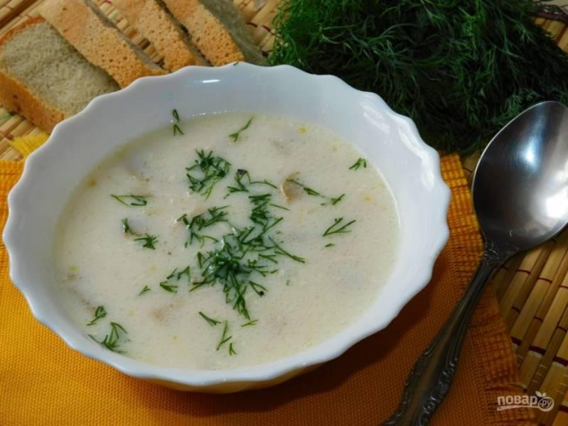 Подавайте суп горячим. При подаче посыпьте зеленью. Приятного аппетита!