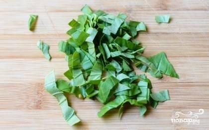 Порезать листики.