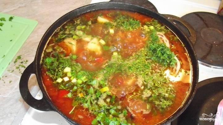 За 1-2 минуты до готовности блюда высыпаем в него мелко нарезанную зелень.