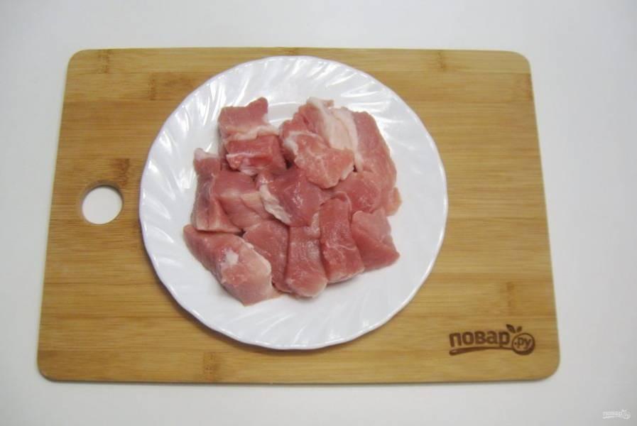 Мясо помойте и порежьте кусочками.