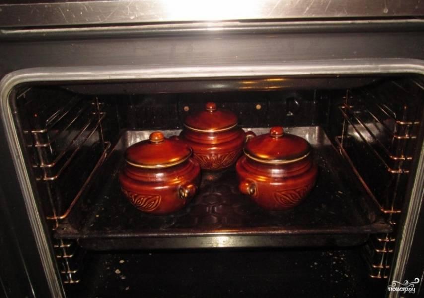 Теперь горшочки можно накрыть крышками и поставить в духовку. Температура приготовления 220 градусов, время 1 час.