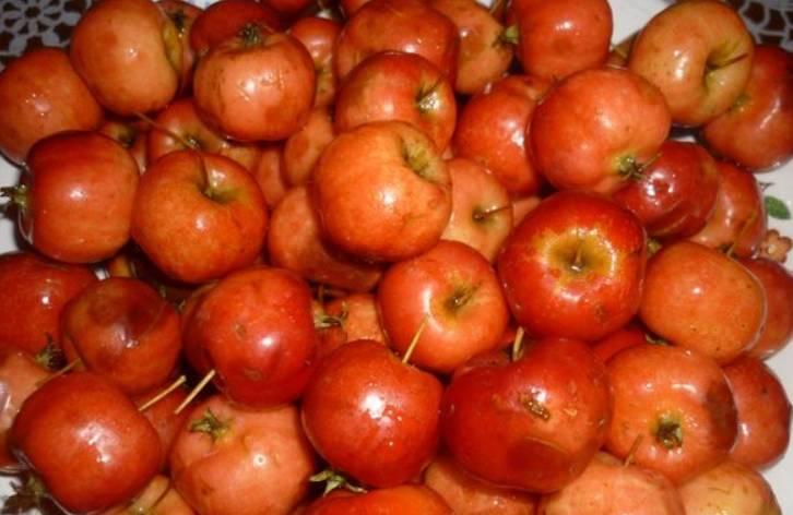 Тщательно промываем яблочки. Подрезаем им хвостики, но не до конца. Протыкаем каждой яблочко несколько раз зубочисткой.