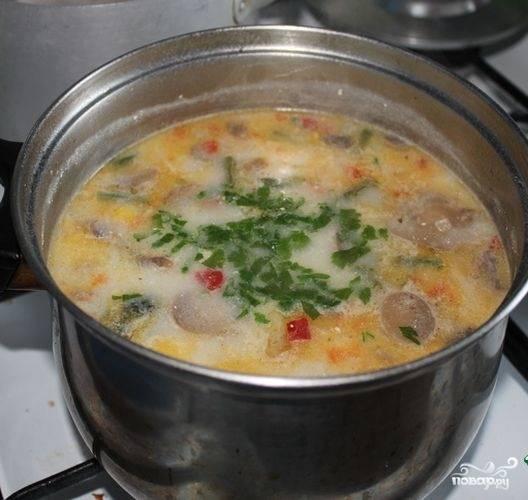 3. Зелень моем и мелко нарезаем. За пару минут до готовности кладем зелень, накрываем крышкой и настаиваем около 10-15 минут. Готовый суп подаем порционно к столу.