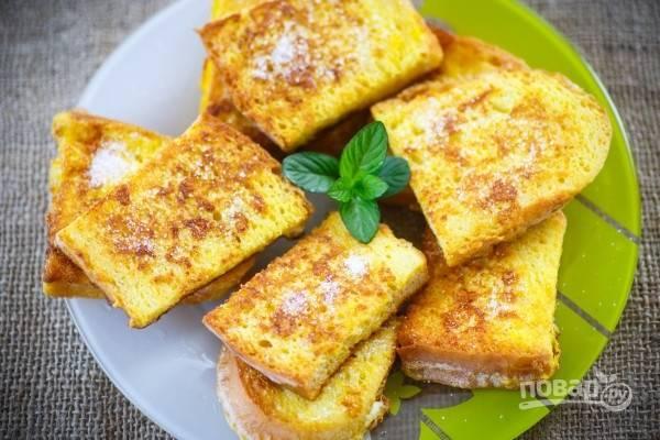 Гренки с молоком и яйцом сладкие