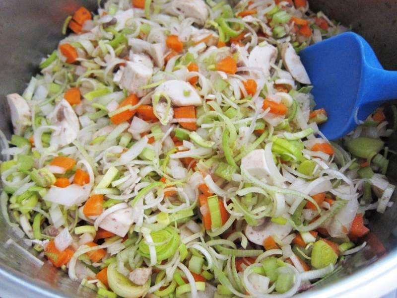 4. Морковь вымыть, очистить и нарезать кубиками. Чеснок почистить и измельчить. Сельдерей и грибы вымыть, просушить и нарезать небольшими кусочками.