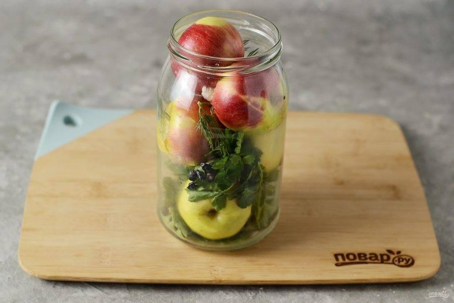 Яблоки помойте, обсушите и выложите в банку. В промежутках добавляйте зелень и оставшиеся ягоды.
