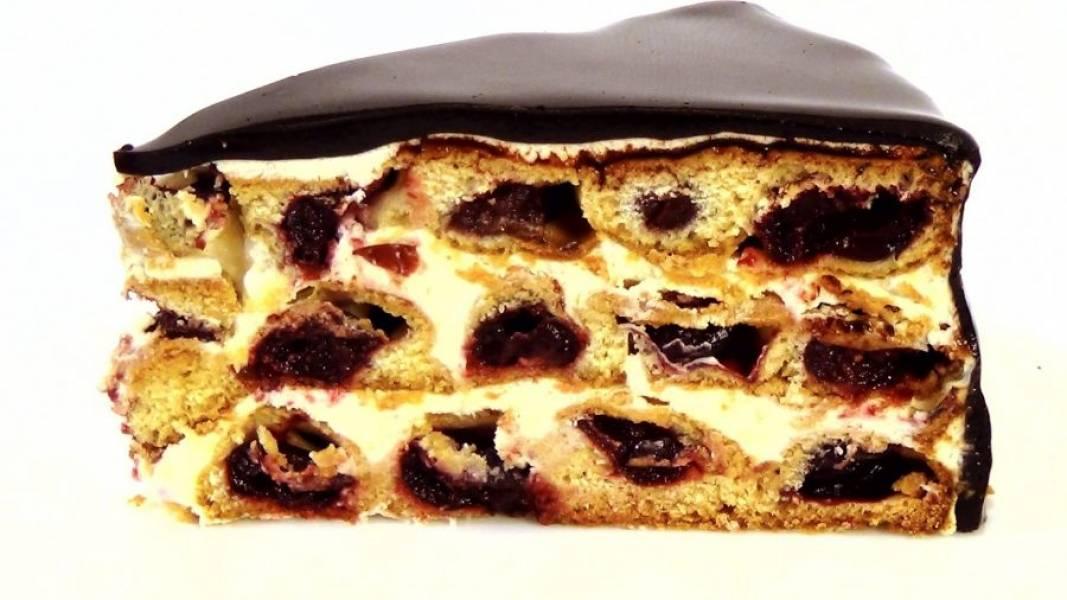 8. Снимите смесь с огня, процедите, добавьте желатин и размешайте до полного его растворения. Остывшую примерно до 36 градусов глазурь нанесите на торт. Поставьте торт в холодильник до полного застывания глазури. Приятного аппетита!