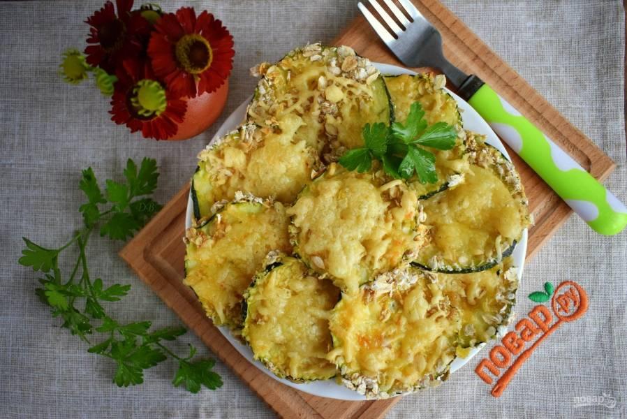 Кабачки в духовке с сыром и чесноком