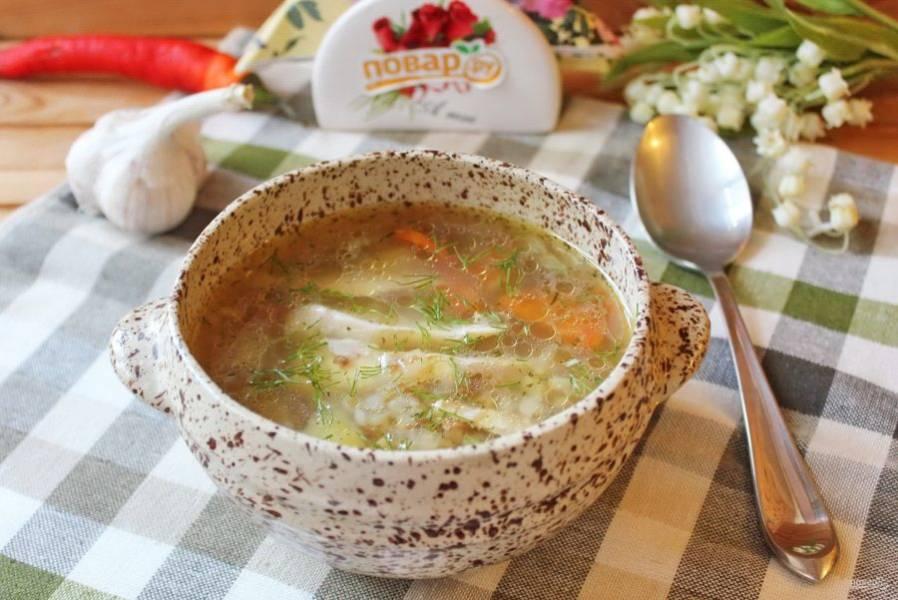 Гречневый суп с индейкой готов. Подавайте на первое в обед. Приятного аппетита!