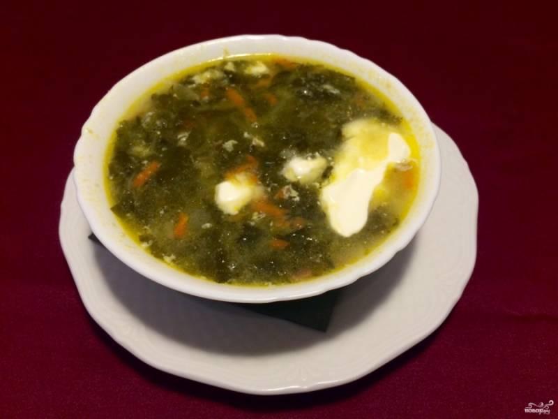 В готовый щавелевый суп без яиц перед подачей добавьте сметану. Приятного аппетита!
