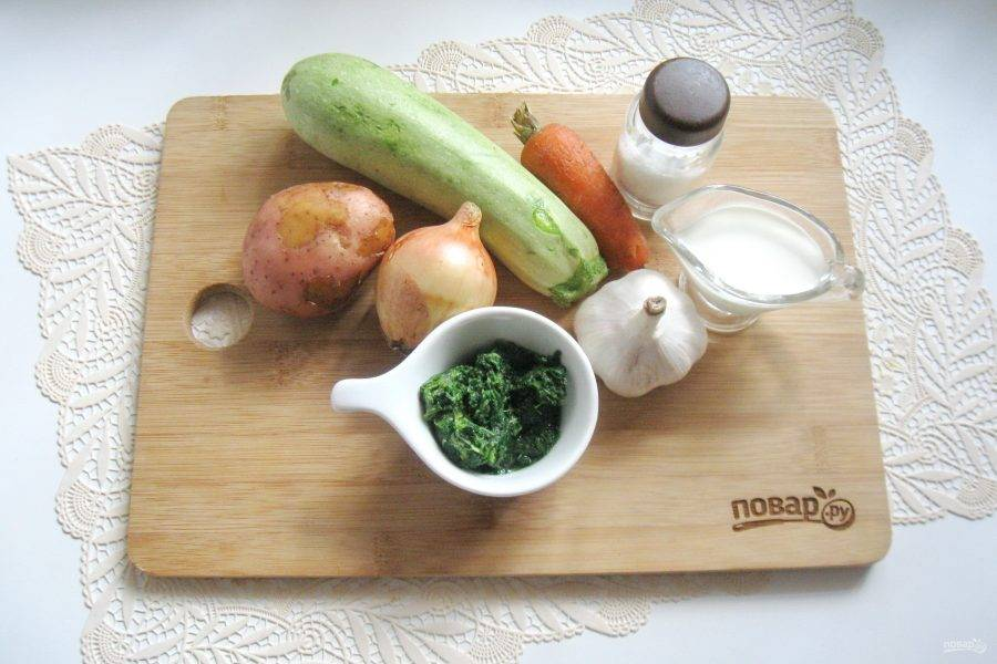 Подготовьте ингредиенты для супа-пюре.