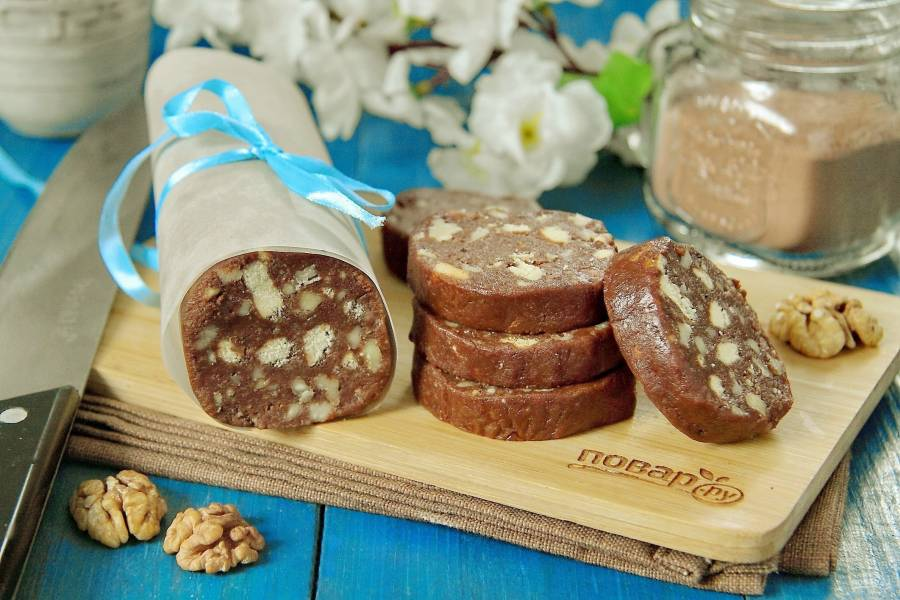 Кондитерская колбаска из печенья