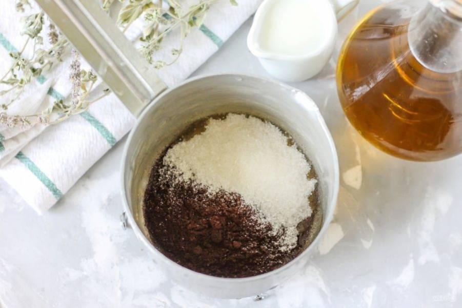 Молотый кофе любого сорта и сахар высыпьте в турку или ковш. Если у вас в наличии есть кофемашина или кофеварка, приготовьте этот ароматный напиток в ней по своему вкусу.
