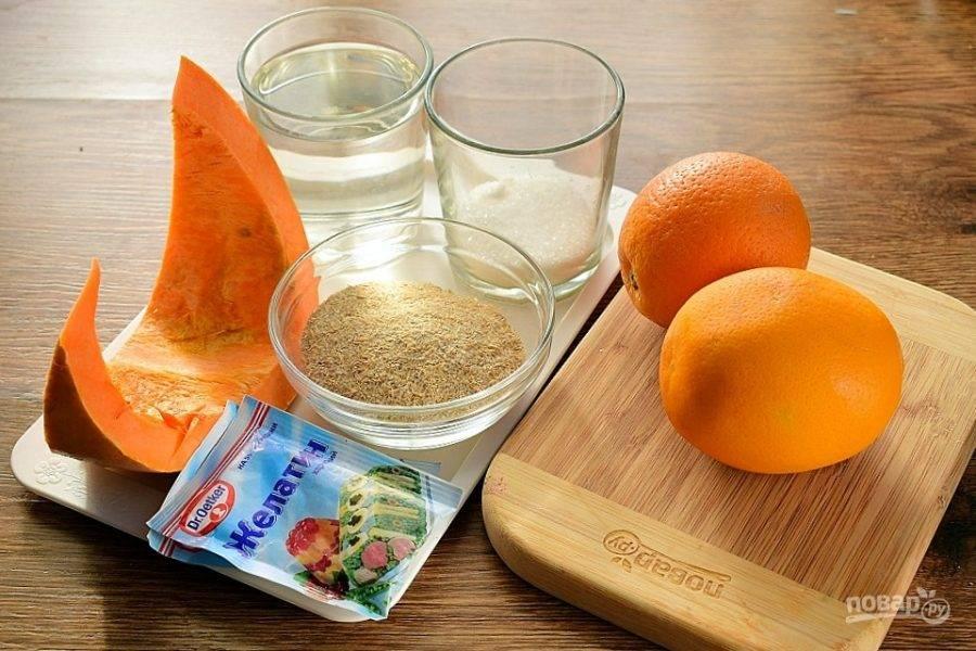 Подготовьте необходимые продукты. Тыкву и апельсины вымойте. Отруби измельчите в кофемолке.