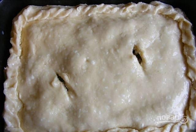 Второй частью теста закройте пирог сверху, защипнув края. Сделайте пару дырочек. Покройте тесто взбитым яйцом.
